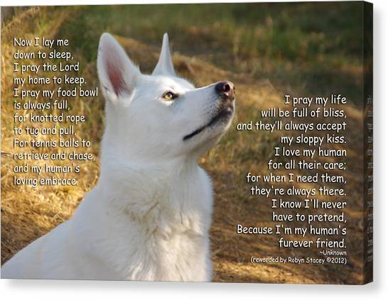 Dog's Prayer Now I Lay Me Down To Sleep Canvas Print