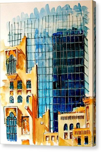 Gcc Canvas Print - Doha Reflections by Mike Shepley DA Edin