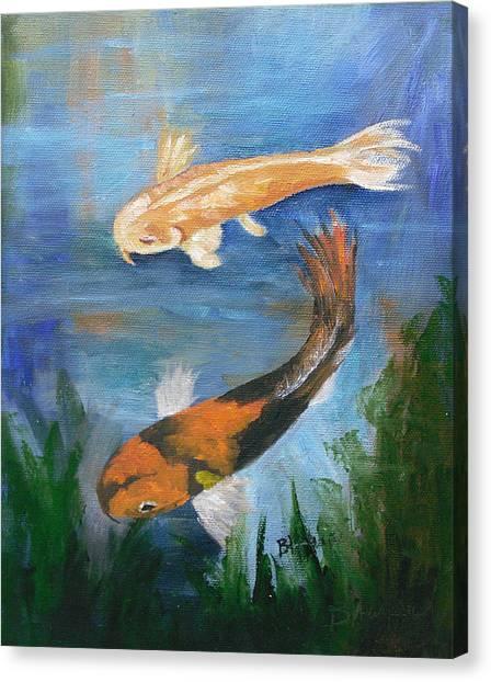 Doitsu And Utsuri Koi Canvas Print by Barbara Harper