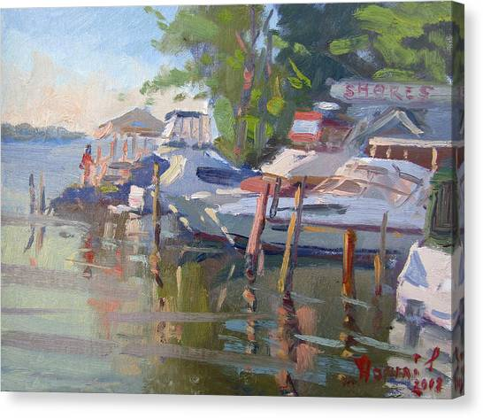 Yacht Canvas Print - Docks At The Shores  by Ylli Haruni