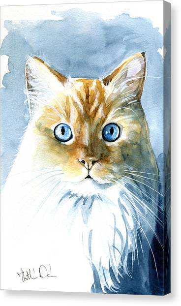 Himalayan Cats Canvas Print - Doll Face Flame Point Himalayan Cat Painting by Dora Hathazi Mendes