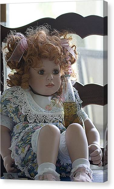 Doll Sitting In Chair With Bottle Of Beer Canvas Print by Christopher Purcell