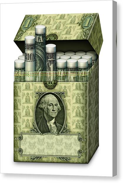 Dollar Cigarettes Canvas Print