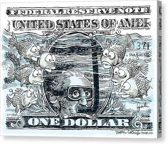 Canvas Print featuring the drawing Dollar Submerged by Daryl Cagle