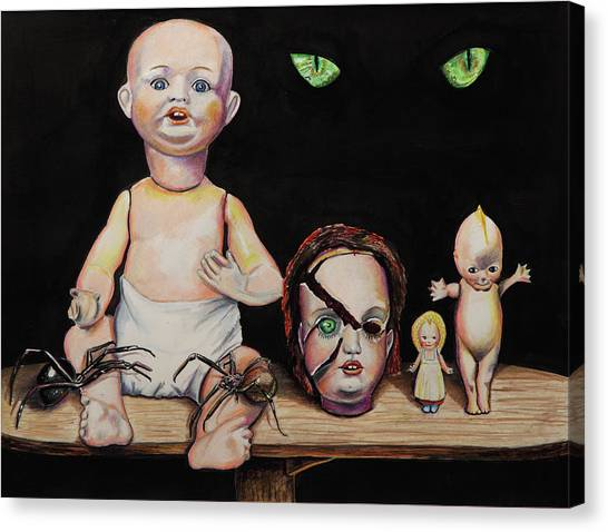 Dolls And Spiders Canvas Print