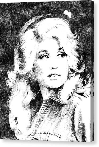 Dolly Parton Bw Portrait Canvas Print