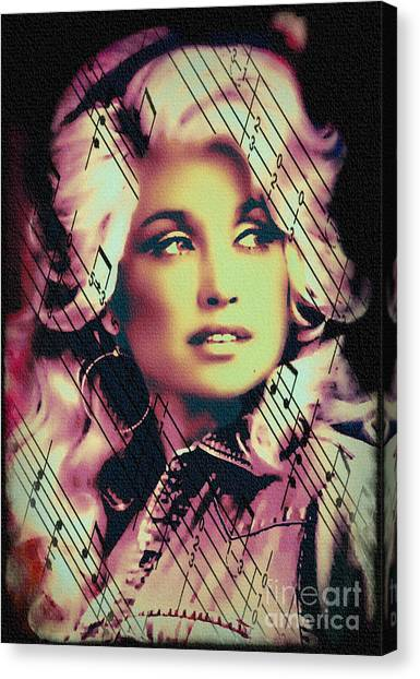 Dolly Parton - Digital Art Painting Canvas Print