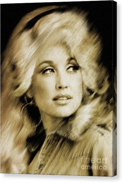 Stardom Canvas Print - Dolly Parton by Mary Bassett