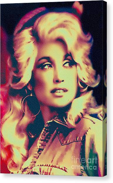 Dolly Parton - Vintage Painting Canvas Print