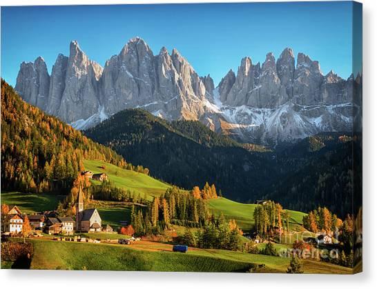 Dolomite Village In Autumn Canvas Print