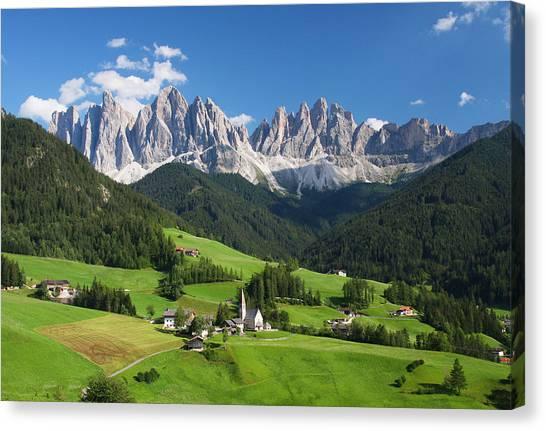 Dolomites In Summer Canvas Print by Dan Breckwoldt