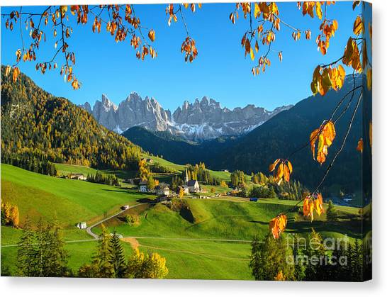 Dolomites Mountain Village In Autumn In Italy Canvas Print