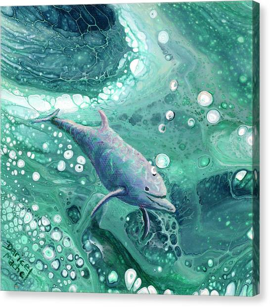 Canvas Print featuring the painting Dolphin Magic by Darice Machel McGuire