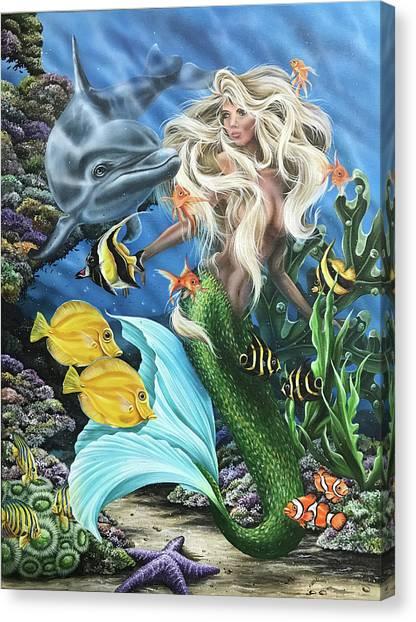 Dolphin Mermaid Canvas Print
