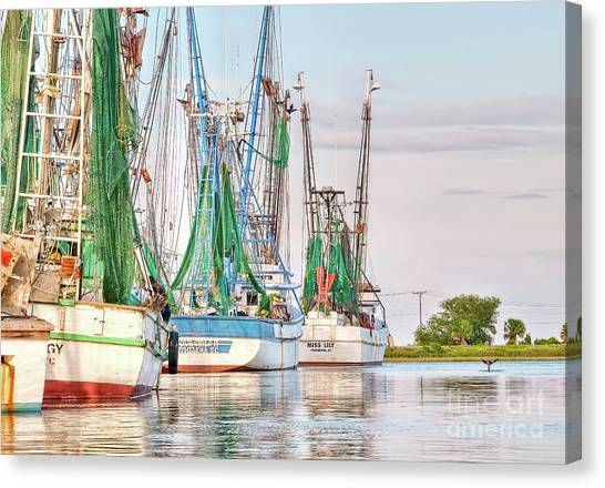 Crabbing Canvas Print - Dolphin Tail - Docked Shrimp Boats by Scott Hansen