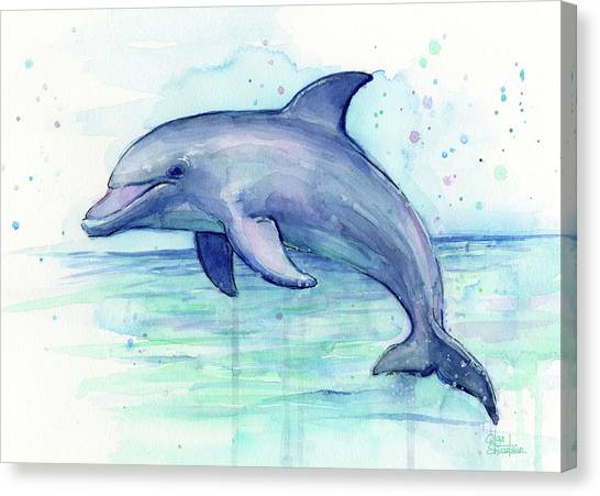 Ocean Animals Canvas Print - Dolphin Watercolor by Olga Shvartsur