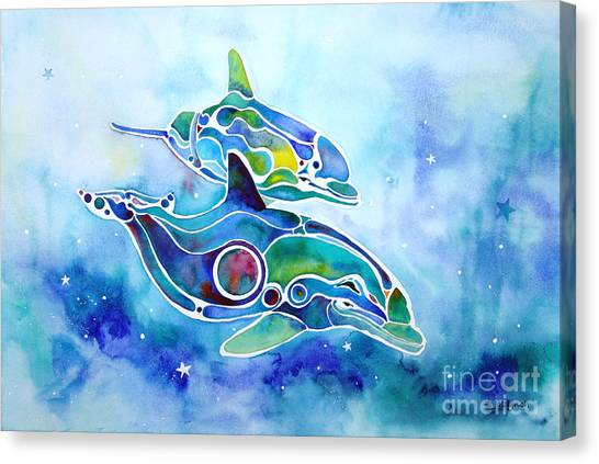 Dolphins Dance Canvas Print by Jo Lynch