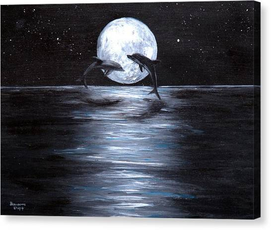 Dolphins Dancing Full Moon Canvas Print