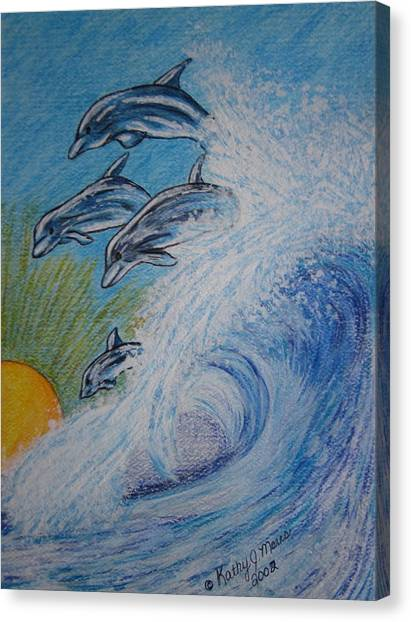Dolphins Jumping In The Waves Canvas Print
