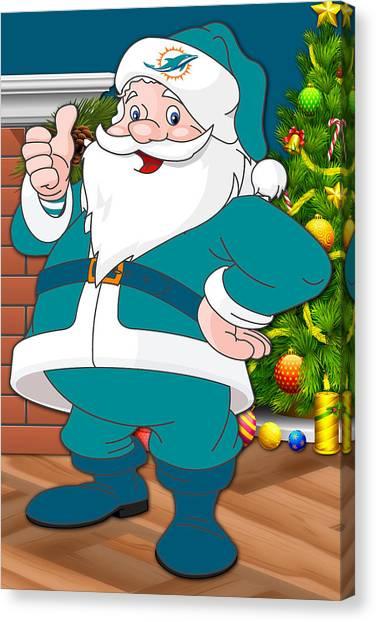 Miami Dolphins Canvas Print - Dolphins Santa Claus by Joe Hamilton