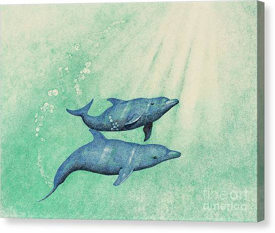 Dolphins Canvas Print by Wayne Hardee