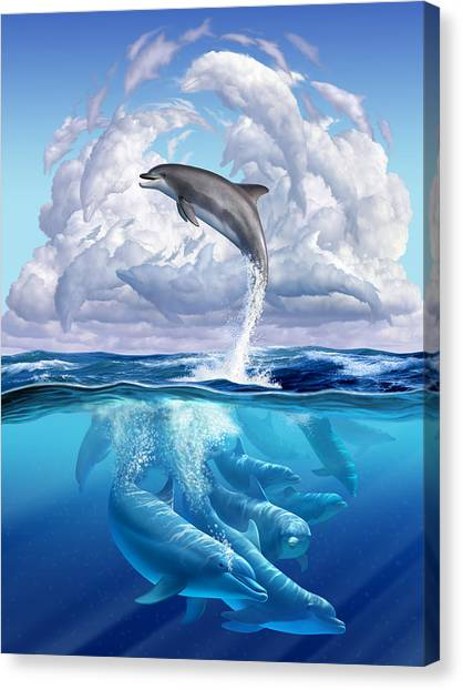 Ocean Animals Canvas Print - Dolphonic Symphony by Jerry LoFaro
