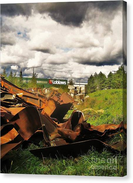Domfer Deconstruction Twisted Metal Canvas Print by Reb Frost
