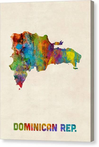 Urban Art Canvas Print - Dominican Republic Watercolor Map by Michael Tompsett