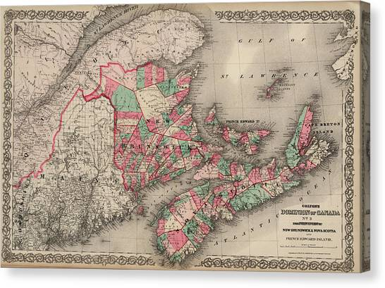 Nova Scotia Canvas Print - Dominion Of Canada. Provinces Of New Brunswick, Nova Scotia And Prince Edward Island by Colton
