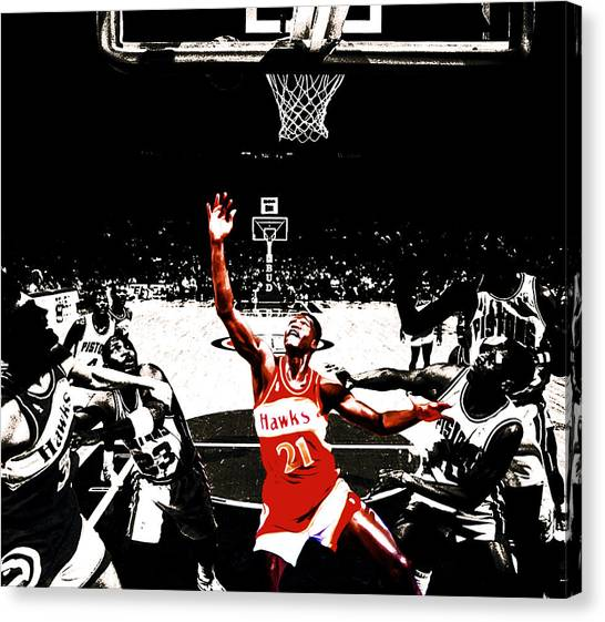 Atlanta Hawks Canvas Print - Dominique Wilkins In  The Paint by Brian Reaves
