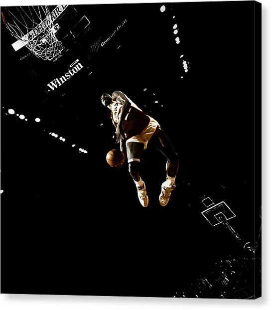 Atlanta Hawks Canvas Print - Dominique Wilkins Taking Flight by Brian Reaves