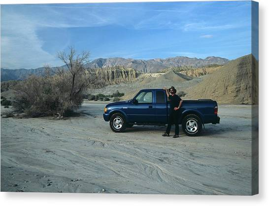 Don Kreuter And Truck In Dry Wash Canvas Print