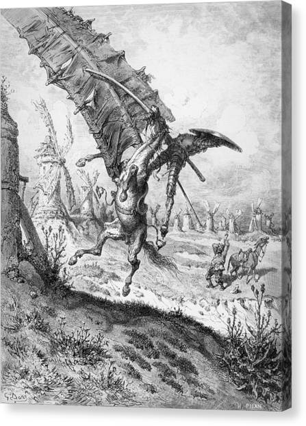 Tumbling Canvas Print - Don Quixote And The Windmills by Gustave Dore