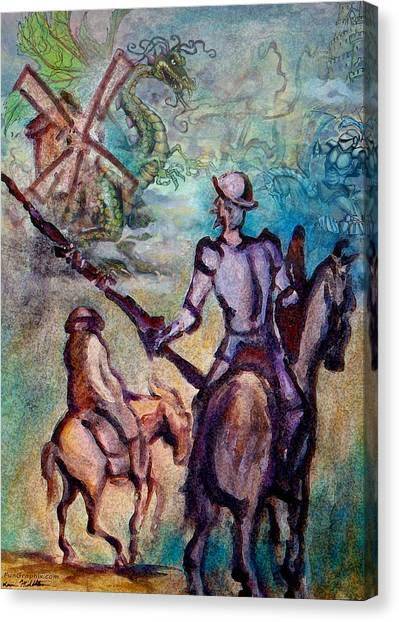 Don Quixote With Dragon Canvas Print