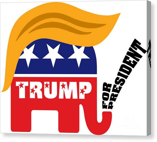 Donald Trump Canvas Print - Donald Trump For President Gop Elephant Hair by InsideOut