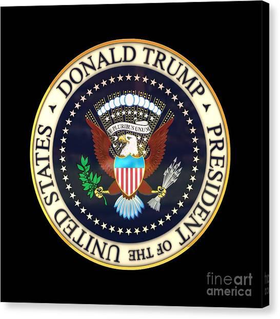 Donald Trump Canvas Print - Donald Trump President Seal by Carsten Reisinger
