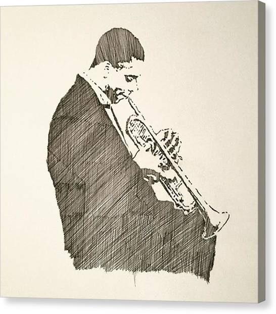 Trumpets Canvas Print - #donaldbyrd #trumpet #pen #handdrawn by Taku Fujii