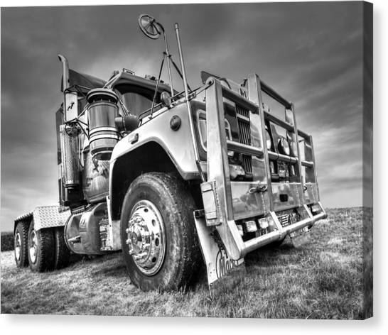 Truck Driver Canvas Print - Done Hauling - Black And White by Gill Billington