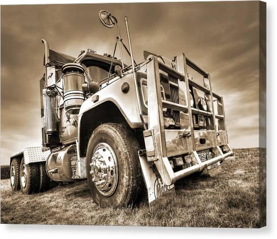 Truck Driver Canvas Print - Done Hauling - Sepia by Gill Billington