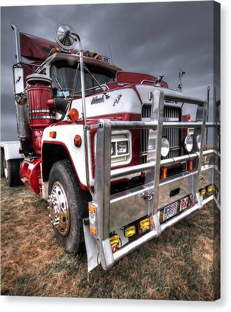 Truck Driver Canvas Print - Done Hauling - Vertical by Gill Billington