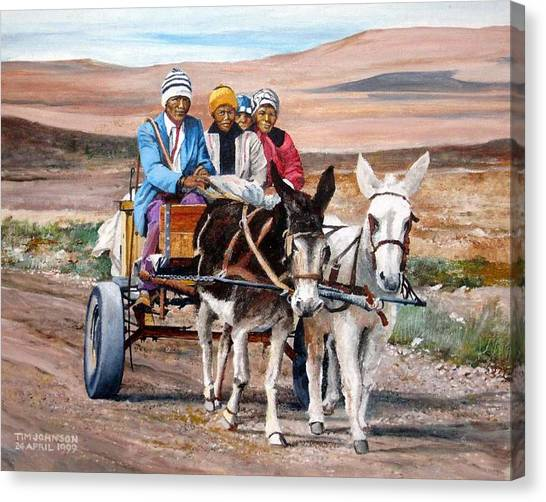 Donkey Cart Canvas Print by Tim Johnson