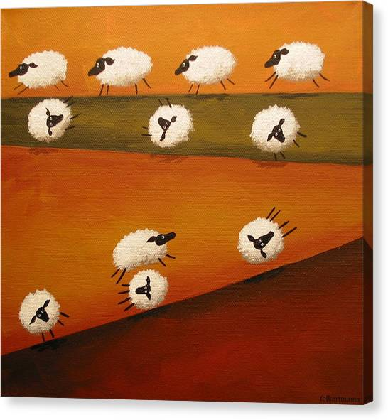 Donkey Kong Canvas Print - Donkey Kong Sheep - Folk Art by Debbie Criswell