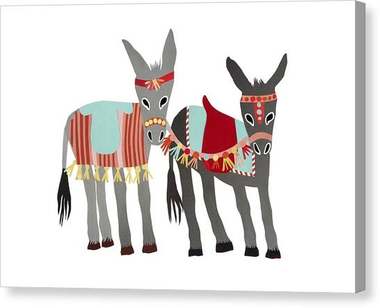 Summer Holiday Canvas Print - Donkeys by Isoebl Barber