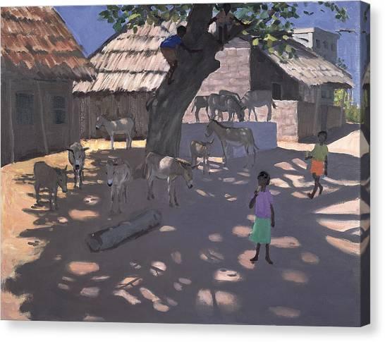 Kenyan Canvas Print - Donkeys Lamu Kenya by Andrew Macara