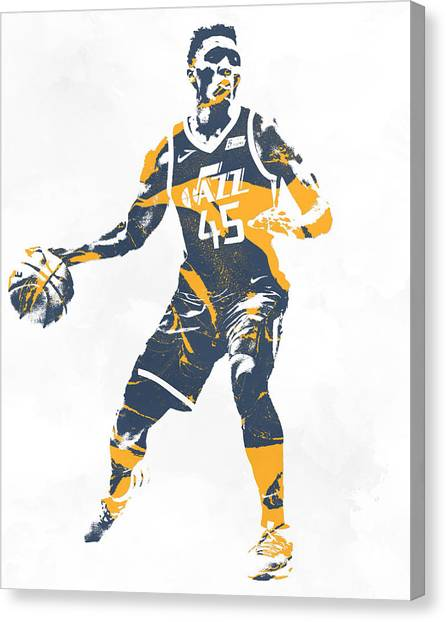 Utah Jazz Canvas Print - Donovan Mitchell Utah Jazz Pixel Art 10 by Joe Hamilton