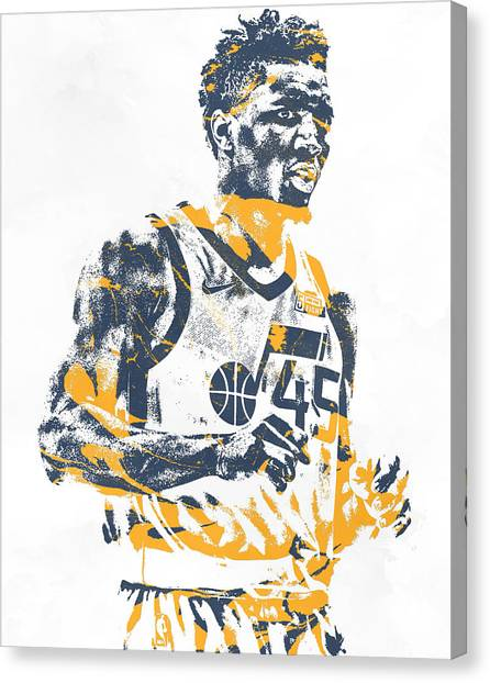 Utah Jazz Canvas Print - Donovan Mitchell Utah Jazz Pixel Art 11 by Joe Hamilton
