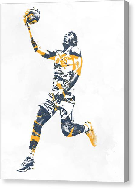 Utah Jazz Canvas Print - Donovan Mitchell Utah Jazz Pixel Art 12 by Joe Hamilton