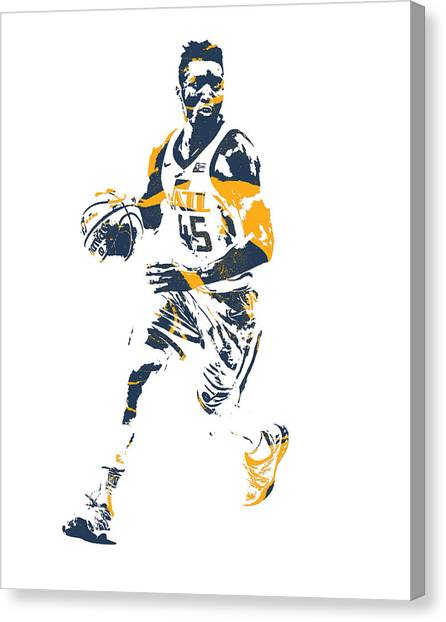 Utah Jazz Canvas Print - Donovan Mitchell Utah Jazz Pixel Art 25 by Joe Hamilton