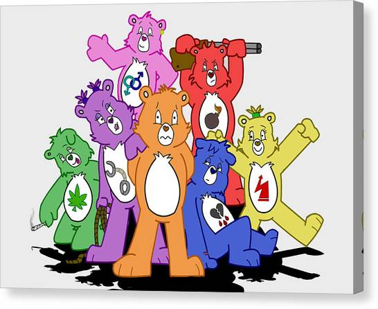 Care Bears Canvas Print - Don't Care Bears by Djawn