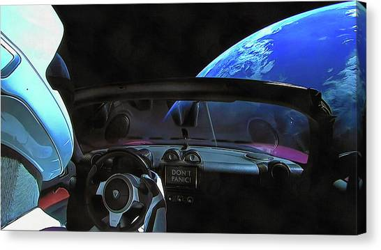 Dont Panic - Tesla In Space Canvas Print